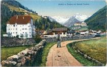 Tauferer Straße mit Ansitz NEUMELANS. Photochromdruck 9x14cm; Gerstenberger & Müller, Bozen; postalisch gelaufen 1910.  Inv.-Nr. vu914pcd00051