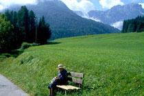 Blick gegen Weiler Mühlbach und Dreifingerspitze in den Pragser Dolomiten von In der Länge in Niederolang aus. Farbdiapositiv 24x36mm; © Johann G. Mairhofer 1998.  Inv-Nr. dc135kn0239.02_17