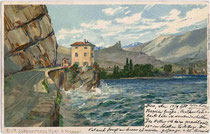 Fort S(an). Nicolo in Riva. Chromolithographie 9 x 14 cm: Entwurf: Otmar Zieher, München um 1900.  Inv.-Nr. vu914clg00014