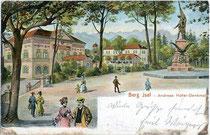 Kaiserjäger-Museum und Andreas-Hofer-Denkmal am Berg Isel. Kombinationsfarbdruck (Typochromie) 9x14cm; Impressum: Robert Warger, Innsbruck; postalisch gelaufen 1906.  Inv.-Nr. vu914kfd00008