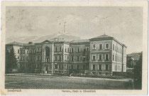 Nerven-, Haus- und Ohrenklinik der Universität Innsbruck (heute Anatomisches Institut), Müllerstraße 59. Lichtdruck 9 x 14 cm; Impressum: K(arl). Redlich, Innsbruck; postalisch gelaufen 1926.  Inv.-Nr. vu914ld00204