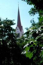 Kirchturm der Filialkirche St. Ägidius in Mitterolang. Farbdiapositiv 24x36mm; © Johann G. Mairhofer 1998.  Inv-Nr. dc135kn0239.02_35