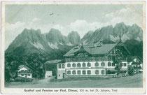 """Im Heimatschutzstil ausgeführter Gasthof - Pension """"zur Post"""" in Ellmau am Wilden Kaiser, Bezirk Kufstein, Tirol. Lichtdruck 9 x 14 cm; Impressum: Hans Pernat Wwe., München 1930.  Inv.-Nr. vu914ld00060"""