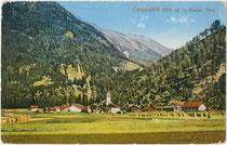 Längenfeld im Ötztal, Bezirk Imst, Tirol mit Pfarrkirche zur Hl. Katharina. Photochromdruck 9 x 14 cm; Impressum: Robert Warger, Innsbruck 1912.  Inv.-Nr. vu914pcd00298
