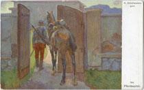 """""""Ins Pferdespital"""". Kavallerist mit Dienstpferd. Farbautotypie 9 x 14 cm nach einem Original von Nikolaus Schattenstein (1877 Ponjemon,Russland - 1954 New York), um 1916.  Inv.-Nr. vu914fat00089"""