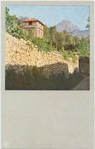 """""""Am Gardasee: In den Weinbergen bei Riva"""" (heute Riva del Garda, Provinz Trient). Farbautotypie nach Dreifarbenphotographie - System Prof. Dr. Adolf Miethe (1862-1927) 9 x 14 cm ohne Impressum, um 1900.  Inv.-Nr. vu914fat00131"""