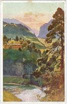Der Sillfall unterhalb der ehemaligen Regimentsschießstätte der Tiroler Kaiserjäger am Berg Isel. Farbautotypie 9x14cm; Entwurf: Edo von Handel-Mazzetti; postalisch gelaufen 1927.  Inv.-Nr. vu914fat00063