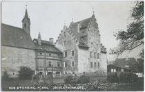 Ansitz Jöchlsthurn und Kapelle zu den Hll. Peter und Paul in Sterzing. Gelatinesilberabzug 9 x 14 cm; A(lfred). Stockhammer, Hall in Tirol 1910.  Inv.-Nr. vu914gs00138