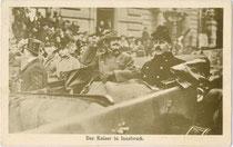Kaiser Karl in Innsbruck aus Anlass der Eröffnung einer Ausstellung über die Leistungen der Kaiserjäger im Weltkrieg. Heliogravüre 9 x 14 cm; Aufnahme: Schuhmann, Verlag Brüder Kohn Wien 1918.  Inv.-Nr. vu914hg00042