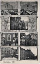 """Das studentische Konvikt """"Nikolaihaus"""" in der Sillgasse. siebenteilige Mehrbildkarte, Lichtdruck 9 x 14 cm ohne Impressum, postalisch befördert 1910.  Inv.-Nr. vu914ld00181"""