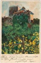 Schloss THURNSTEIN. Chromolithographie 9 x 14 cm; Entwurf: M(ichael). Zeno Diemer; Eigenverlag des Künstlers um 1900.  Inv.-Nr. vu914clg00009
