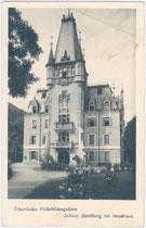 Schloss Mentlberg in Verwendung als Bäuerliches Volksbildungsheim um 1930. Gelatinesilberabzug 9x14cm; P. Karberger, Pechestr.1, Innsbruck.  Inv.-Nr. vu914gs00056