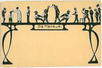 Kunstgraphische Darstellung von Stationen einer Mensur, platziert auf einem Tisch im Jugendstil mit Blankofläche als Schriftfeld. Chromolithographie 9 x 14 cm; Impressum: D. T. C., L. (?) um 1900.  Inv.-Nr. vu914clg00039