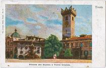 Der Palazzo Pretorio, seit 1903 Museo Diocesano Tridentino (Trentiner Diözesanmuseum) am Domplatz von Trient. Farbautotypie 9 x 14 cm; Impressum: Avanzo, Ottico, Trento um 1910.  Inv.-Nr. vu914fat00082