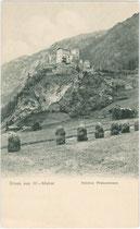 """""""Heumandl"""" unterhalb von Schloss WEISSENSTEIN in Matrei in Osttirol (ehemals Windisch-Matrei). Lichtdruck 9x14cm; kein Impressum um 1900.  Inv.-Nr. vu914ld00188"""