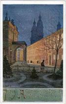 Leopold-Franzens-Universität Innsbruck (Gebäude der Theologischen Fakultät). Couleurkarte um 1910; Farbautotypie 9x14cm, unsigniert. Inv.-Nr. vu914fat00030