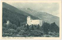 """""""Schloss Bruck mit Bösem Weibele"""". Rastertiefdruck 9 x 14 cm; Impressum: Verlag August Gander, Kunsthandlung, Lienz; postalisch gelaufen 1937.  Inv.-Nr. vu914rtd00026"""