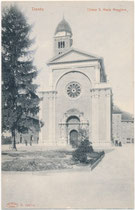 La Chiesa Santa Maria Maggiore (dt.: Kirche Groß Sankt Marien), Vicolo delle Orsoline in Trient, ehem. Gef. Grafsch. Tirol (1868-1919), err. 1520/24 von Antonio Medaglia. Lichtdruck 9 x 14 cm; Impressum: Joh. F. Amonn, Bozen 1901.  Inv.-Nr. vu914ld00330
