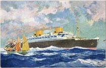 """Turbinenpassagierschiff """"Bremen"""" IV des Norddeutschen Lloyd Bremen, ab 1929 in Dienst auf der Transatlantikroute Bremerhaven-New York, 1941 durch Feuer zerstört. Farboffsetdruck 9 x 14 cm nach unsigniertem Entwurf 1939.  Inv.-Nr. vu914fod00006"""