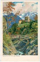 Steg über den Naifbach unterhalb von Burg Goyen in Schenna im Burggrafenamt, Südtirol. Chromolithographie 9 x 14 cm nach einem Original von M(ichael). Zeno Diemer, München um 1900.  Inv.-Nr. vu914clg00003