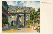 Anlässlich Erzherzog Leopolds Hochzeit 1765 erbaute Triumphpforte mit hindurch führender Straßenbahnlinie. Chromolithographie 9 x 14 cm nach Original eines anonymen Künstlers ohne Impressum, um 1900.  Inv.-Nr. vu914clg00051