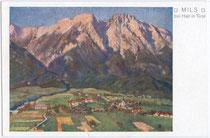 Mils bei Hall von Süden. Farbautotypie 9x14cm; Entwurf ohne Künstlersignatur.  Inv.Nr. vu914fat00057