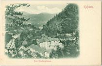Bad Kienbergklamm - heute Gasthof und Pension - an Weißache und Eibergstraße in Kufstein. Lichtdruck 9 x 14 cm; Impressum: Stengel & Co., Dresden um 1900.  Inv.-Nr. vu914ld00246