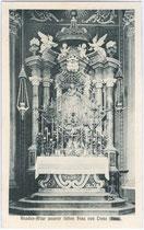 Gnadenaltar in der Wallfahrtskirche U.L.F. in Trens. Lichtdruck 9x14cm; Aufnahme und Verlag Peter Hasler, Freienfeld.  Inv.-Nr. vu914ld00120