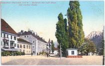 Café EBNER und Gasthof EMMA (Wassermann-Haus, ursprünglich Ansitz VON KURZ) in Niederdorf. Photochromdruck 9x14cm; Josef Werth, Olang um 1907.  Inv.-Nr. vu914pcd00008