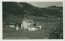 Schloss MÜNICHAU in Reith bei Kitzbühel. Gelatinesilberabzug 9 x 14 cm; Impressum: Adolf Künz, Innsbruck, Stafflerstraße 18 um 1930.  Inv.-Nr. vu914gs00516