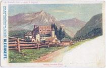 """Burg Nauders. Farbautotypie 9 x 14 cm; Werbekarte der Firma """"Schicht's Bleichseife""""; Eigenverlag um 1900.  Inv.-Nr. vu914fat00064"""