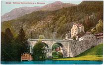 Gasthof Schloss FERNSTEIN an der Fernpassstraße über den Fernsteinsee. Photochromdruck 9x14cm; Edition Photoglob, Zürich um 1910.  Inv.-Nr. vu914pcd00180
