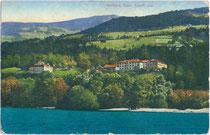 Der Inn in Volders beim Josefinum mit Ansitz Hauzenheim der Grafen Stachelburg, Freiherren von Hauzenheim (rechts im Bild). Photochromdruck 9 x 14 cm; Impressum: Wilhelm Stempfle, Innsbruck um 1910.  Inv.-Nr.  vu914pcd00182
