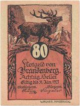 Notgeldschein mit Motiv Rothirsch zum Nominale 80 Heller der Gemeinde Brandenberg, Bezirk Kufstein, Tirol (Avers). Druck: Wagner'sche Universitätsdruckerei Innsbruck 1921.