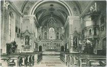 Inneres von St. Nikolaus in Eggen, Gemeinde Deutschnofen. Lichtdruck 9 x 14 cm ohne Impressum, postalisch gelaufen 1918. Inv.-Nr. vu914ld00217