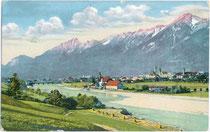 Ansitz Scheibenegg mit Getreidekasten in der Unteren Lend von Hall in Tirol. Photochromdruck 9 x 14 cm; Impressum: Ferd(inand). Tschoner, Innsbruck; postalisch befördert 1912.  Inv.-Nr. vu914pcd00141