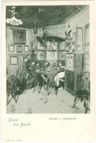 "Zechrunde im Künstler- und Dichtererker im Bozner ""Batzenhäusl"" in der ehem. Gemeinde Zwölfmalgreien, seit 1912 Stadt Bozen. Lichtdruck 9 x 14 cm; J.F.A.B. (Johann Filibert Amonn Bozen) um 1900.  Inv.-Nr. vu914ld00054"