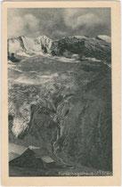 Das Furtschaglhaus (2.337m) der Sektion Berlin des DuÖAV mit Hochfeiler (3.523m) und Hochferner (3.437m) im Gemeindegebiet von Finkenberg im Zillertal. Rastertiefdruck 9 x 14 cm ohne Impressum, datiert: 24.-25.7.1923.  Inv.-Nr. vu914rtd00032