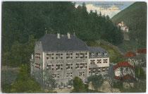 """Hotel Pension """"Ansitz Schrottwinkel"""" im Ortszentrum von Sand in Taufers. Farblichtdruck 9 x 14 cm ohne Impressum, um 1910.  Inv.-Nr. vu914fld00019"""