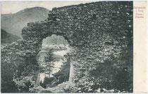 Ruine der Tirolisch Landesfürstlichen Grenzfeste PORTA CLAUDIA in Scharnitz. Lichtdruck 9x14cm; Verlag von A. Irl, Hofphotograph, Mittenwald.  Inv.-Nr. vu914ld00169