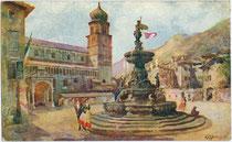 Piazza del Duomo mit Kathedrale San Vigilio und Neptunbrunnen in Trento (Trient). Farbautotypie nach einem Original von Edoardo Marchioro (1885-1932), dat. 1914, Verlag Uff. Ref. Stampa, Milano.  Inv.-Nr. vu914fat00132