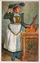 Junge Frau aus Enneberg (ladinisch: Mareo) im Gadertal, Südtirol. Farbautotypie nach einem Original von Paula Tiefenthaler (1881 - 1942). Impressum: Joh(ann). F(ilibert). Amonn, Bozen 1916.  Inv.-Nr. vu914fat00117