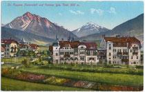 Dr. Poppers Kuranstalt und Pension in Igls (1943 nach Innsbruck eingemeindet). Photochromdruck 9x14cm, kein Urhebernachweis.  Inv.-Nr. vu914pcd00076