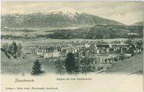 Der Saggen, Stadt Innsbruck mit dem Patscherkofel. Lichtdruck 9 x 14 cm; Impressum: Verlag von Fritz Gratl, Photograph, Innsbruck um 1900.  Inv.-Nr. vu914ld00243