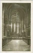 Inneres der Stadtpfarrkirche St. Nikolaus in Meran. Heliogravüre 9 x 14 cm; Impressum: Gerstenberger & Müller, Bozen; postalisch gelaufen 1927.  Inv.-Nr. vu914hg00044