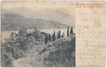 """Castel TOBLINO auf einer Halbinsel im gleichnamigen See in der Gemeinde Calavino, Valle dei Laghi. Lichtdruck 9x14cm; Initialisiertes Impressum """"C.A.""""; postalisch gelaufen 1903.  Inv.-Nr. vu914ld00125"""