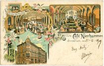 """Café """"Hierhammer"""" mit 1. Tiroler Weinhalle und Billardsaal in der Museumstraße 5, Innsbruck-Innere Stadt. Mehrteilige Chromolithographie 9 x 14 cm; Impressum: Moch & Stern, München um 1895.  Inv.-Nr. vu914clg00048"""
