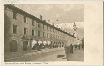 Servitenkloster und -kirche zum Hl. Joseph in Innsbruck, Innere Stadt, Maria-Theresien-Straße 42. Lichtdruck 9 x 14 cm ohne Impressum, um 1930.  Inv.-Nr. vu914ld00201