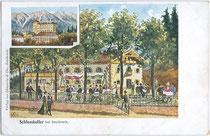 """Kaffeehaus Restaurant """"Schlosskeller"""" (heute Burghauptmannschaft vom Schloss Ambras) von Alois Munaretto, Schlossstr. 16, Amras. Farbautotypie 9 x 14 cm, Künstlersignatur: """"MR Co.""""; Verlag Ohnewein & Cie., Innsbruck um 1900.  Inv.-Nr. vu914fat00073"""