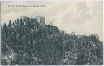 """Ruine Ehrenberg bei Reutte, Tirol"". Lichtdruck 9 x 14 cm; J. Hofheimer, K(öniglich). B(ayerischer). Hofphot(ograph)., Sonthofen-Immenstadt-Oberstdorf 1905.  Inv.-Nr. vu914ld00113"